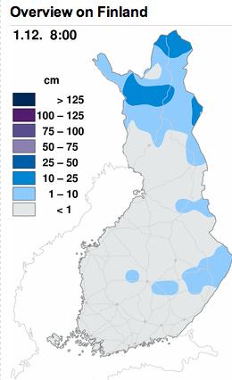Situación de nieve en Laponia finlandesa. Diciembre2011