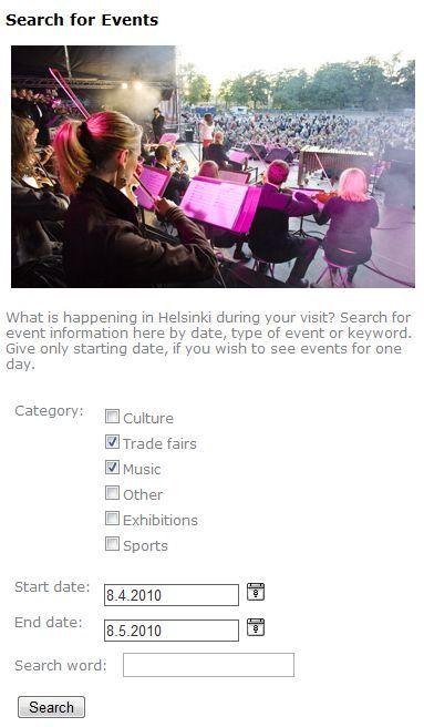 Buscador de eventos de www.visithelsinki.fi