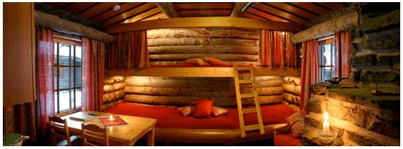 Interior de las cabañas del Luosto Tunturi (antiguo Scandic Luosto)