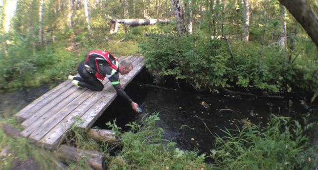 Rellenando el agua directamente de un arroyo en la Ruta del Oso, Finlandia.