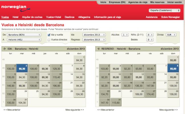 Resultados y precios de vuelos Barcelona-Helsinki-Barcelona con Norwegian