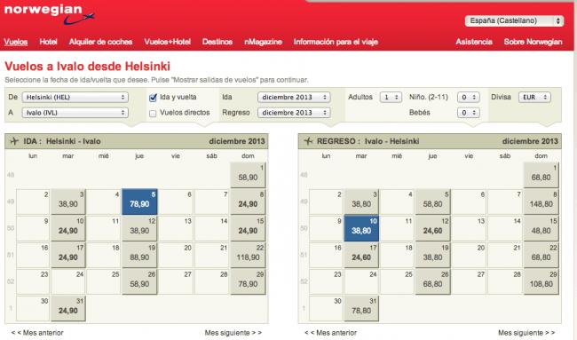 Resultados y precios de vuelos Helsinki-Ivalo-Helsinki con Norwegian