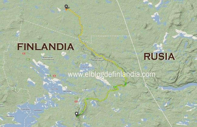 Mapa del itinerario del Karhunkierros, la Ruta del Oso en Laponia, Finlandia