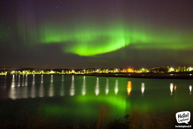 Aurora boreal sobre Rovaniemi desde el río Ounasjoki (11.9.2013) - Foto: Hello Lapland