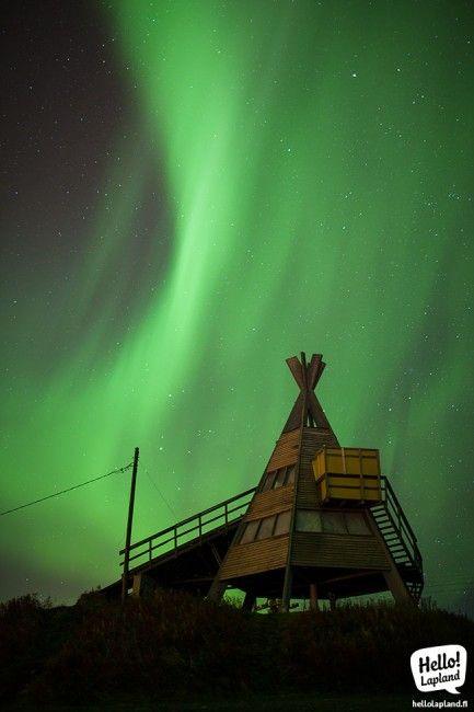 Auorora Boreal sobre las pistas de esquí de Ounasvaara en Rovaniemi, Laponia (13.9.2013) Foto: Hello Lapland