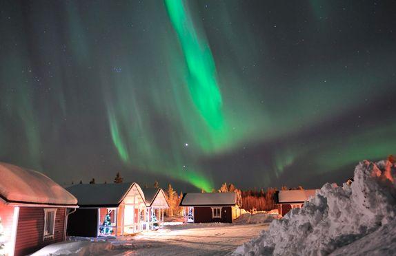 Aurora boreal en las cabañas de Papá Noel en Rovaniemi