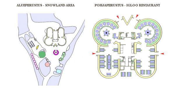 Plano del iglú-restaruante Snowland en Rovaniemi