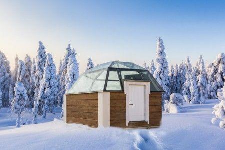Vista exterior de los iglús de cristal de Rovaniemi