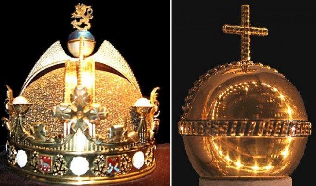 Corona del rey de Finlandia y Orbe de Dinamarca
