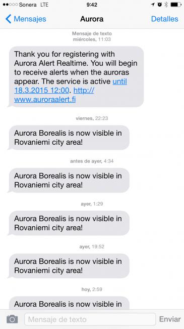 alertas de auroras boreales por mensaje de texto SMS