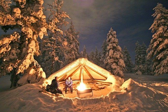 Laavu. Cobertizo publico, abundante en los bosques de Finlandia
