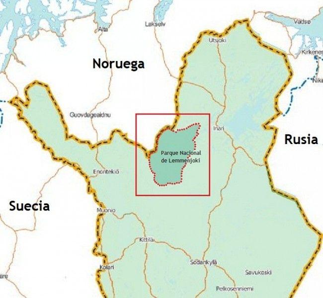 Mapa situación parque nacional Lemmenjoki