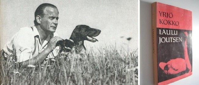 Yrjö Kokko con su perro Molli y uno de sus libros