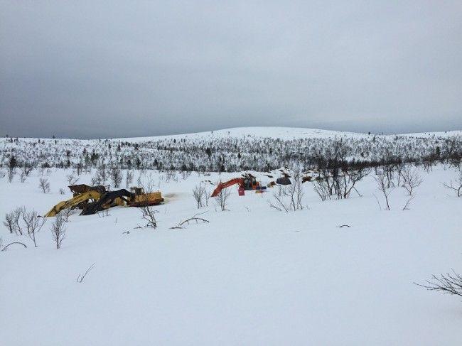 Excavadoras en el parque nacional Lemmenjoki