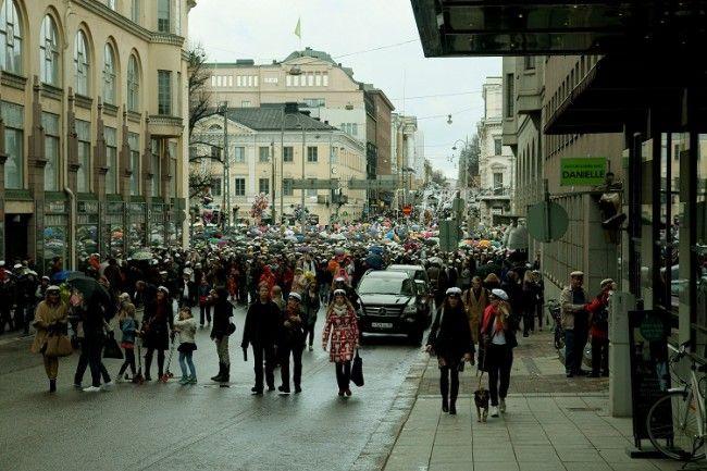 Vappu. Estudiantes en Helsinki