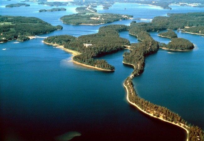 Detalle del lago Saima, el más grande de Finlandia