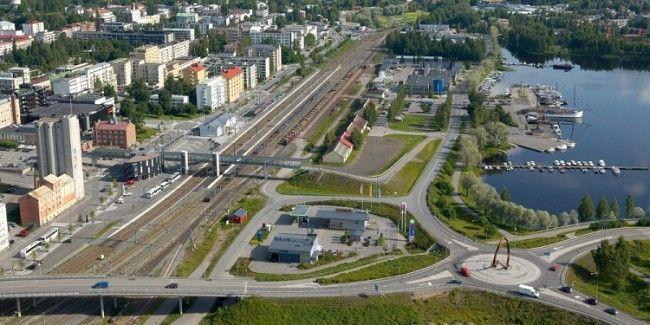 Detalle de centro y el puerto de Mikkeli