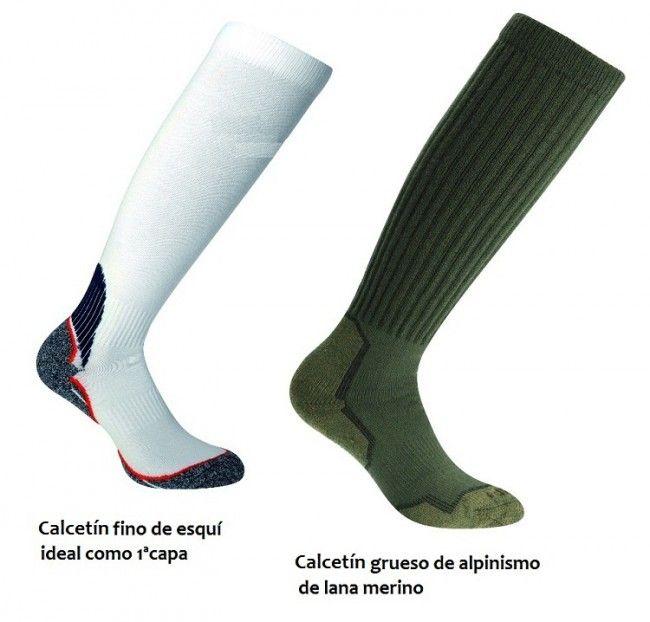 Calcetín de esquí fino y calcetín de alpinismo grueso