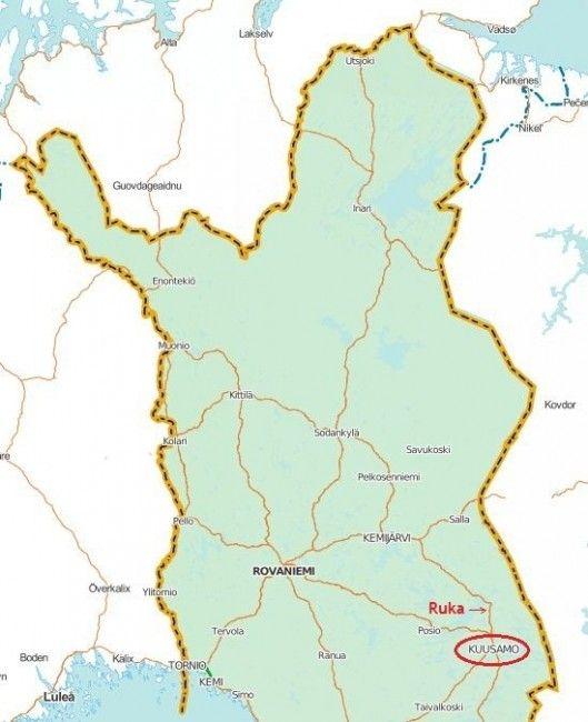 Mapa de Norte de Finlandia. Localización de Ruka.
