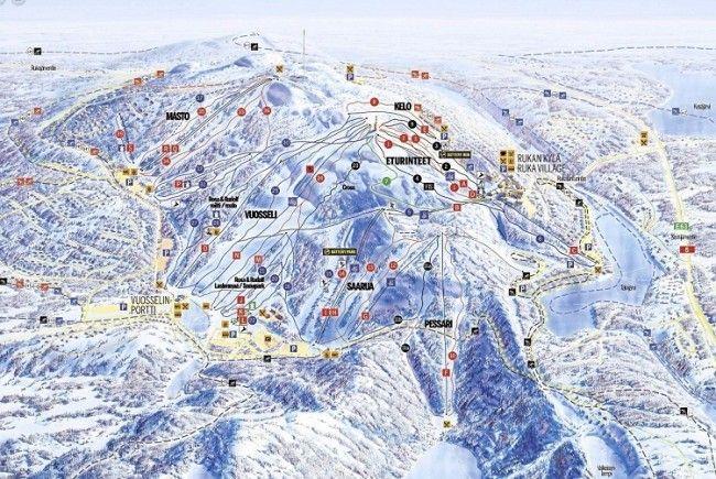 Mapa de las pistas de esquí de Ruka.