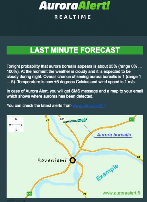 Ejemplo de correo electrónico sobre la previsión de auroras boreales en Rovaniemi