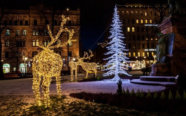 Adornos de Navidad en la calle