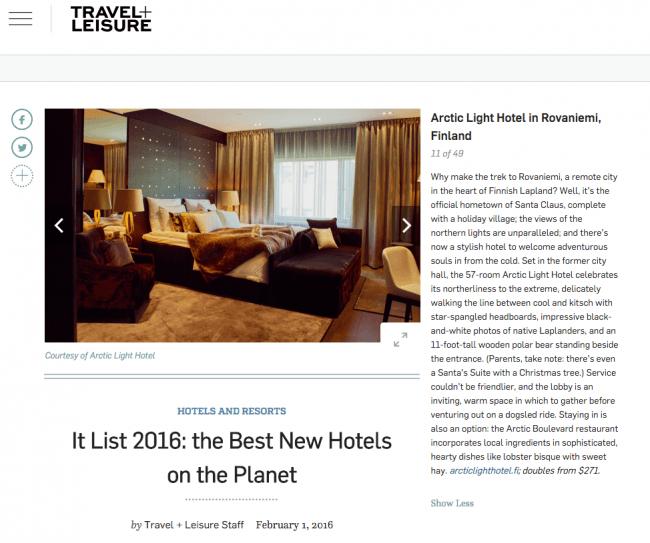 La revista americana Travel and Leisure nombra el Artic Light Hotel undécimo mejor hotel del mundo