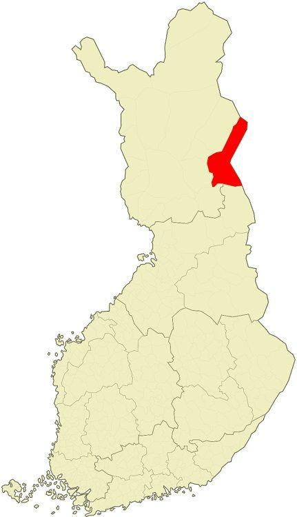 Mapa de Finlandia mostrando en rojo el municipio de Salla