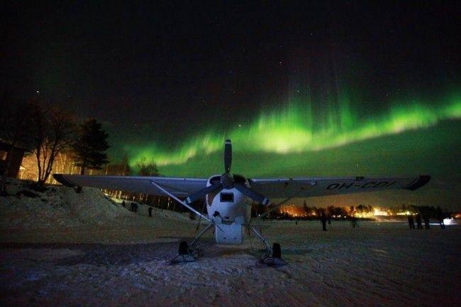 En busca de auroras boreales en avioneta
