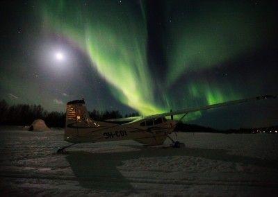 Auroras boreales desde una avioneta
