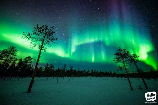 Bonita Aurora Boreal en el invierno de Laponia. Exposición 13 segundos
