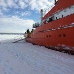 Parada y bajada al hielo en el crucero rompehielos sueco