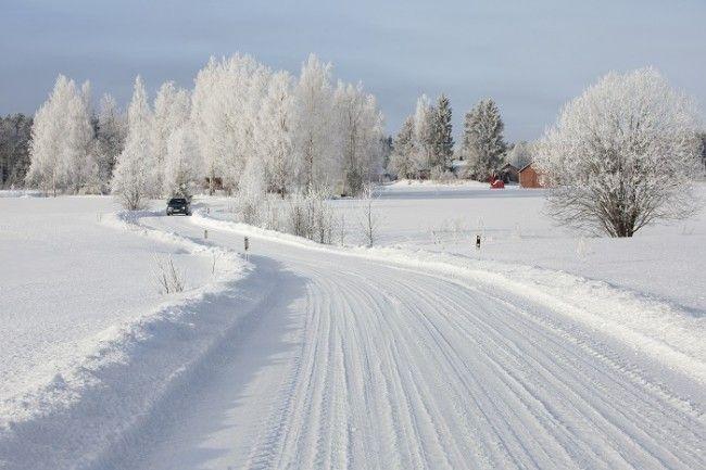 Carretera secundaria en invierno