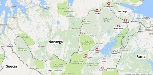 Mapa del Norte de Laponia