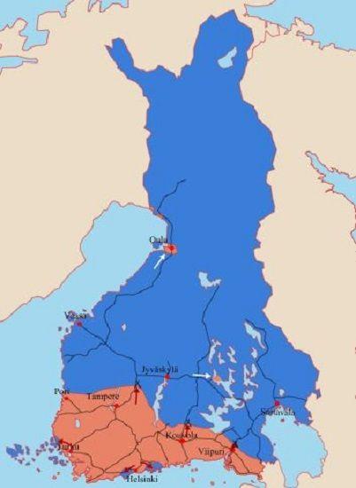 Finlandia al inicio de la Guerra Civil. En rojo la zona pro-Rusia