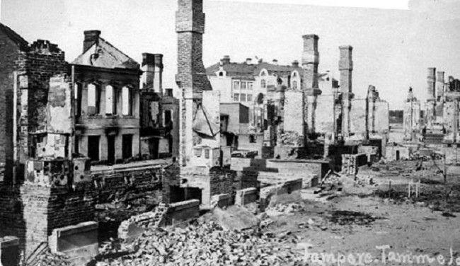 La ciudad de Tampere destruida durante la Guerra Civil de Finlandia