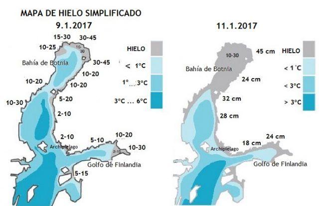 Mapa del hielo en el mar Báltico