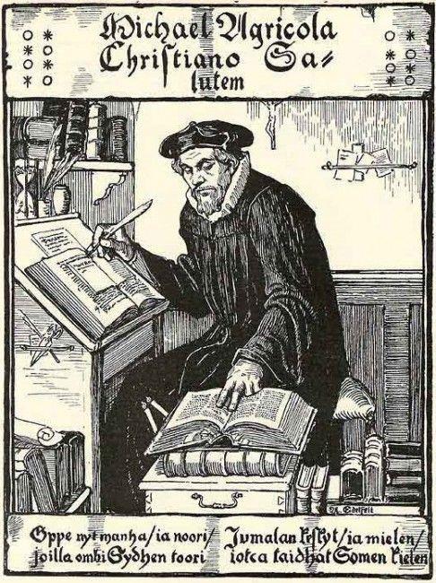 Mikael Agricola. Dibujo de Albert Edelfelt