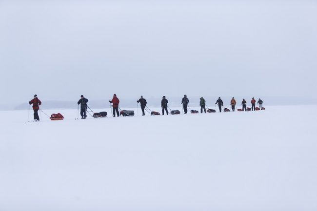 Travesía de esquí en el lago Saimaa