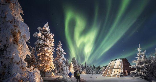 Cabaña de cristal y Aurora Boreal