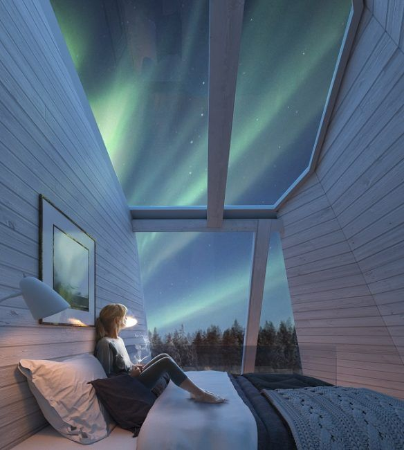 Interior planta superior cabaña de cristal