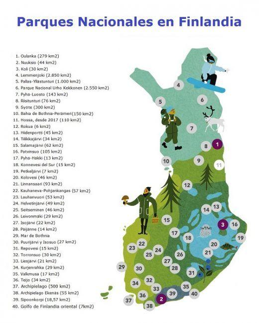Mapa de los Parques Nacionales de Finlandia