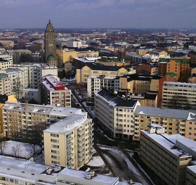 El barrio de Kallio en invierno desde el aire