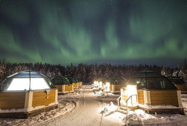Aurora Boreal desde los iglús de Lehtojärvi