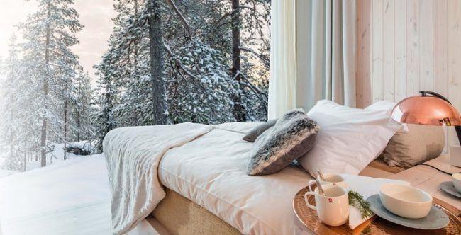 Vista desde el dormitorio del apartamento Arctic Tree House