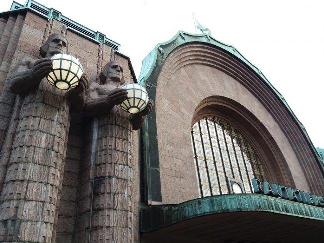 Detalle de la estación central de tren de Helsinki