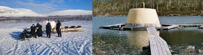 Mojón en la frontera de los tres países en invierno y en verano