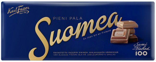 Tableta de chocolate Fazer manteniendo su envoltorio de color azul como el original de 1891 celebrando el 100 aniversario