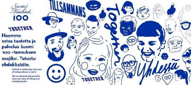 Uno de los carteles conmemorativos del 100 aniversario de la Independencia de Finlandia con el lema Together-Juntos