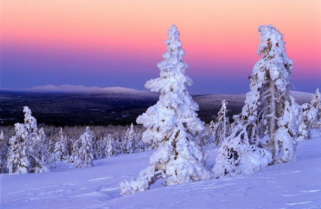 Atardecer invernal en Ylläs